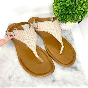 "Franco Sarto Cream/Tan Leather ""GOLDY"" Sandals 12"